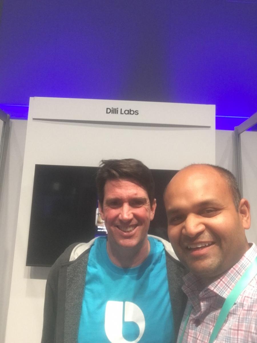 Piyush Hari and Adam Cheyer at Dilli Labs Demo Kiosk at SDC 19