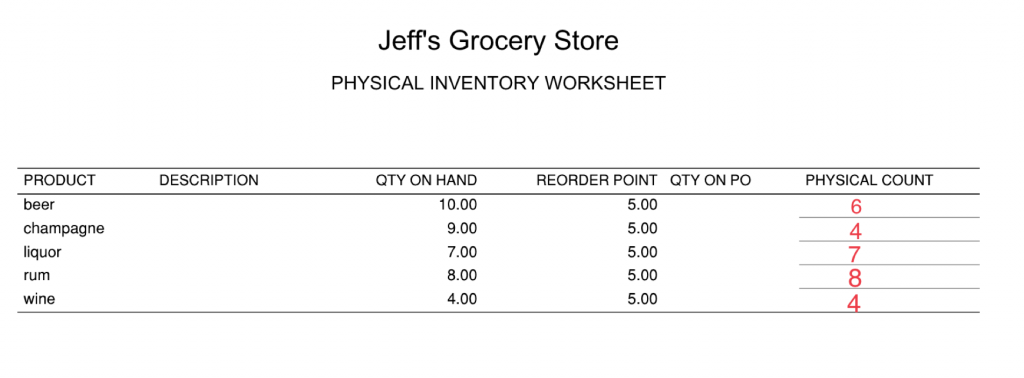 Physical Inventory Worksheet