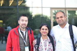 Jeff, Puja and Piyush at hackathon