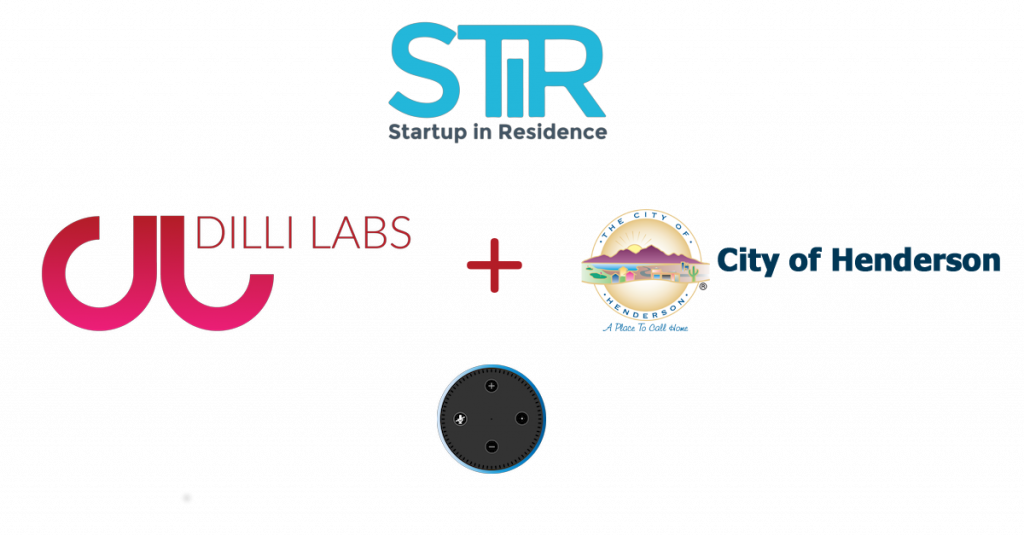 Dilli Labs Logo plus STiR logo plus City Of Henderson Logo Plus Amazon Echo Dot image