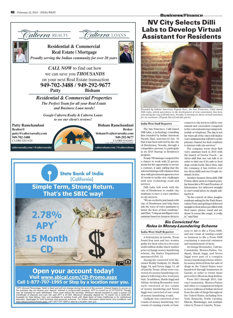 Dilli Labs featured in 'India West' Feb 2019 edition
